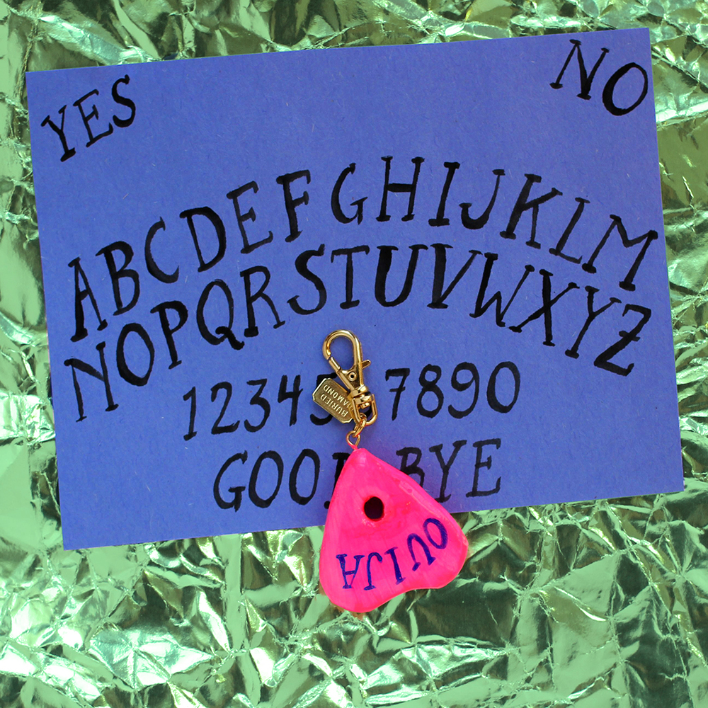 You will always be ready to connect with the other side: mini Ouija planchette charm.