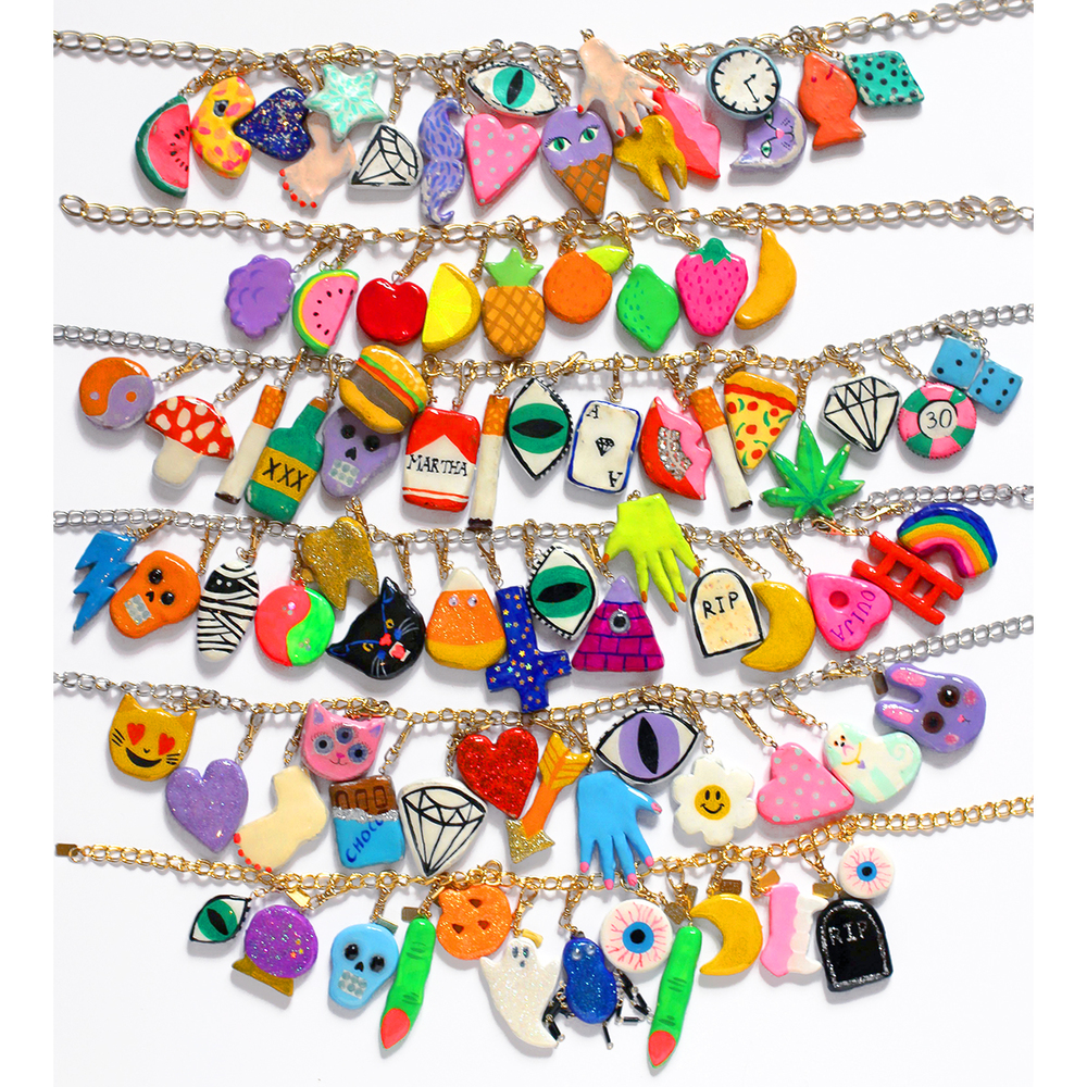 I have six charm necklaces, with 76 charms! 2 charms are miniature, and 17 are one of a kind.