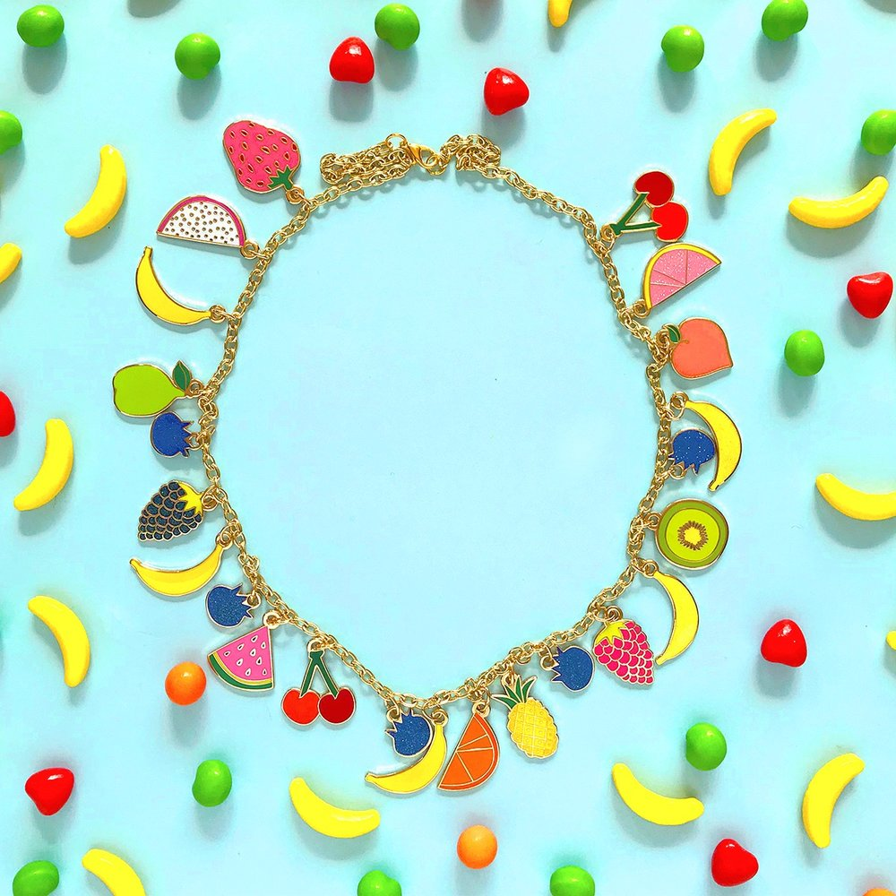 The Tutti Fruiti enamel charms necklace, currently available in the shop.