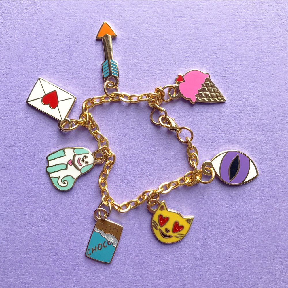 Enamel charm bracelets are available in a variety of designs. This is the Loves Charms bracelet.