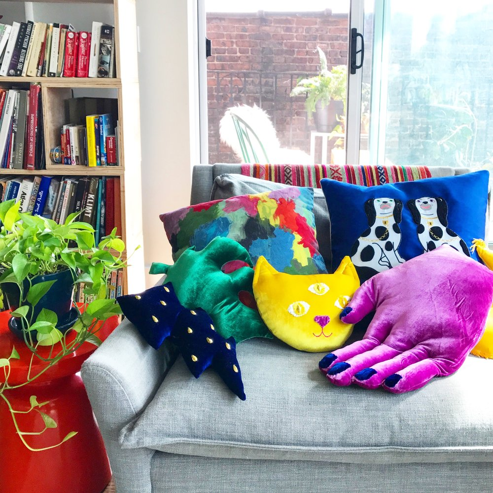 These velvet pillows were inspired by a small stuffed velvet cat I made as a child.
