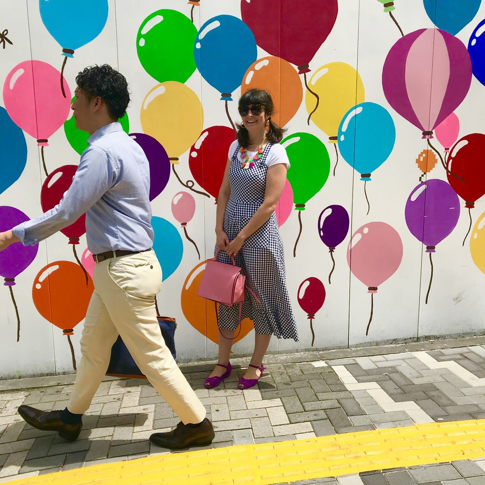 I loved these balloons! This hand painted temporary mural was covering sidewalk construction in Tokyo, Japan. Spring 2018.