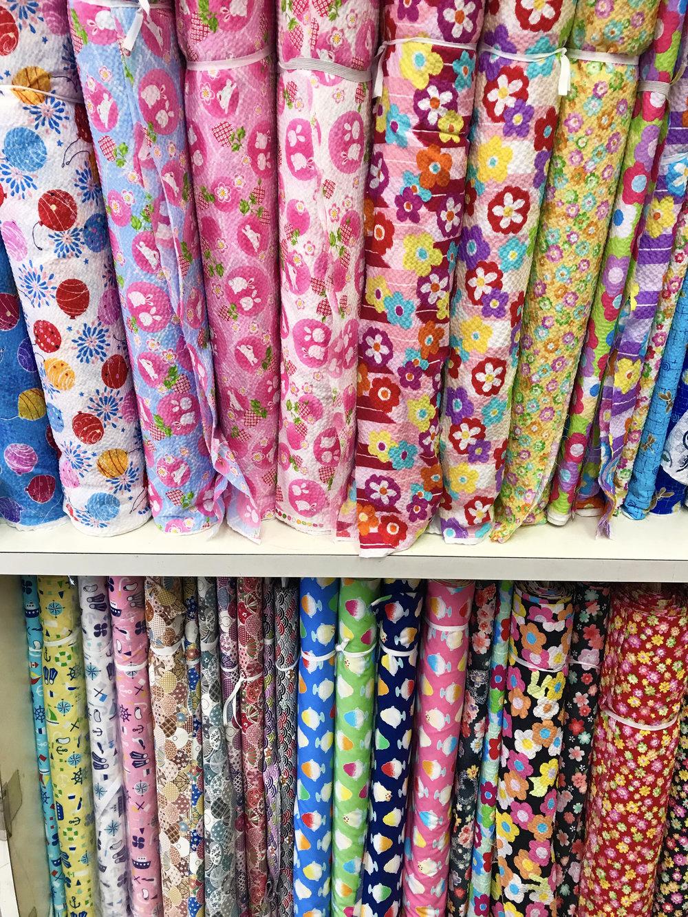 Cotton yukata fabrics in Nippori Textile Town.