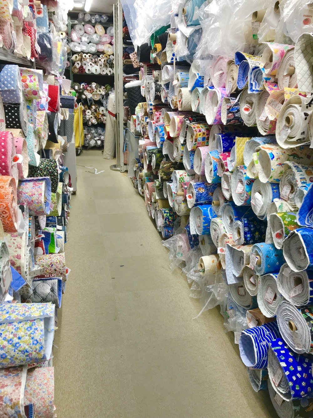 This is about  half  of the pre-quilted cotton fabrics available on the cotton floor at the Main Tomato location.