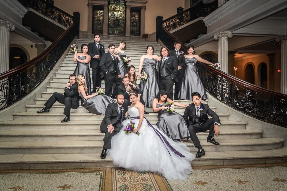 Wedding party at Boston City Hall, Boston, MA