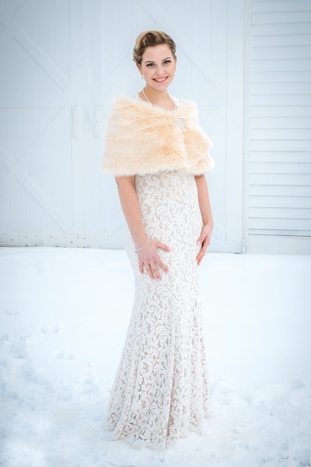 Winter bride in snow at Highland Lake Inn in Andover, NH