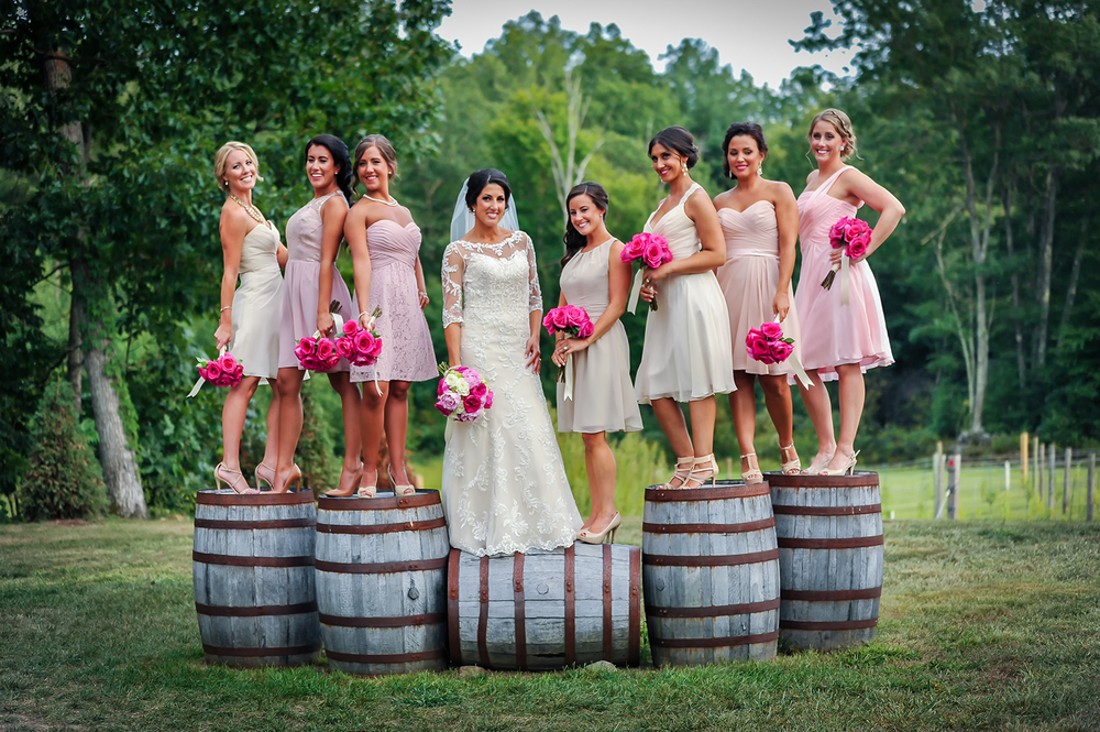 Bridesmaids on barrels at Zorvino Vineyards, Sandown, NH