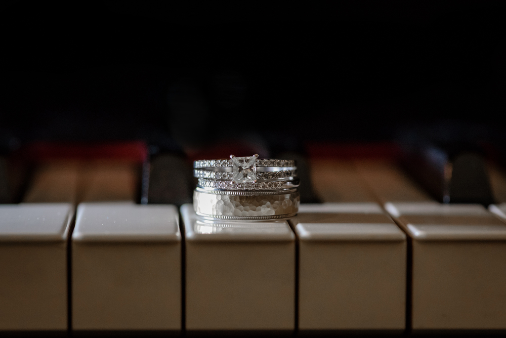 Wedding rings on piano keys, Castleton, Windhm, NH