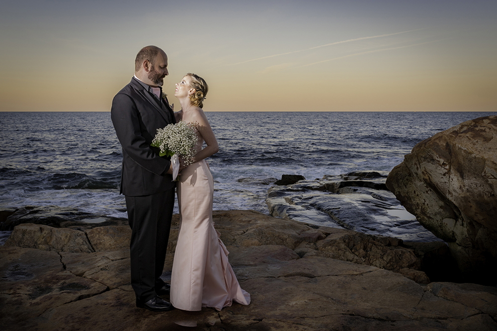 Bride and Groom portrait at Bass Rocks Gloucester, MA