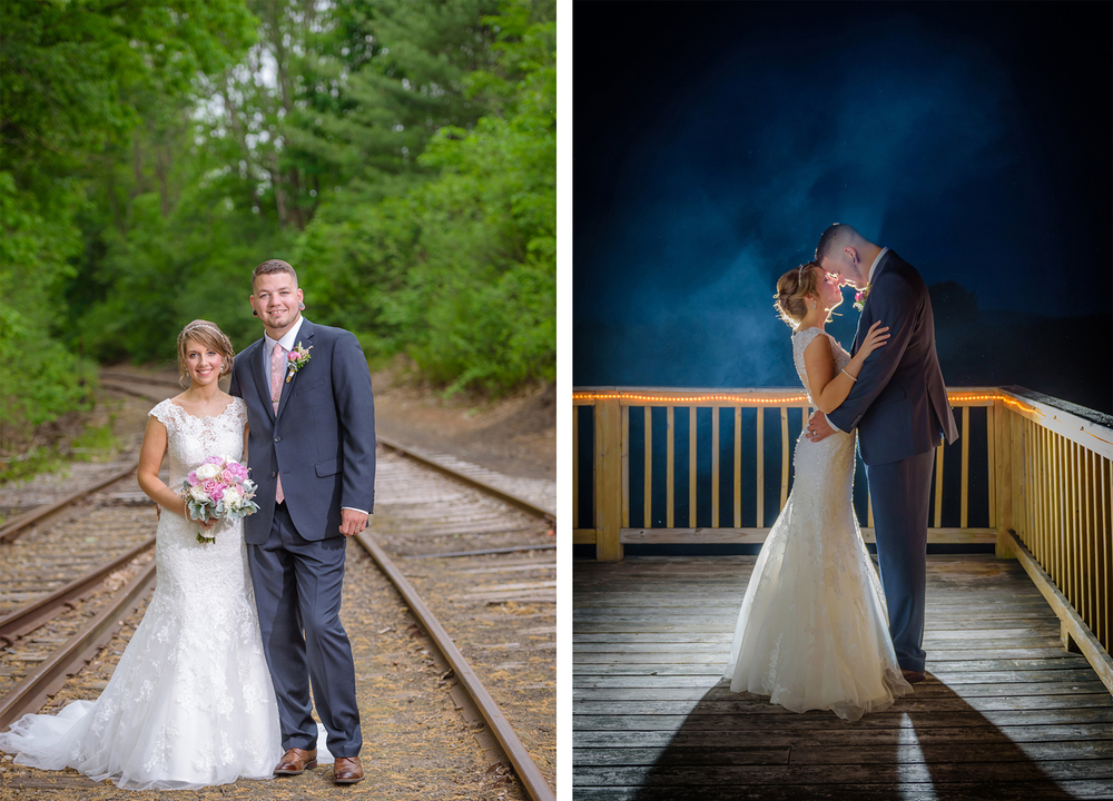 Bride and Groom Photography at Tilton Train Station, Tilton, NH, summer wedding