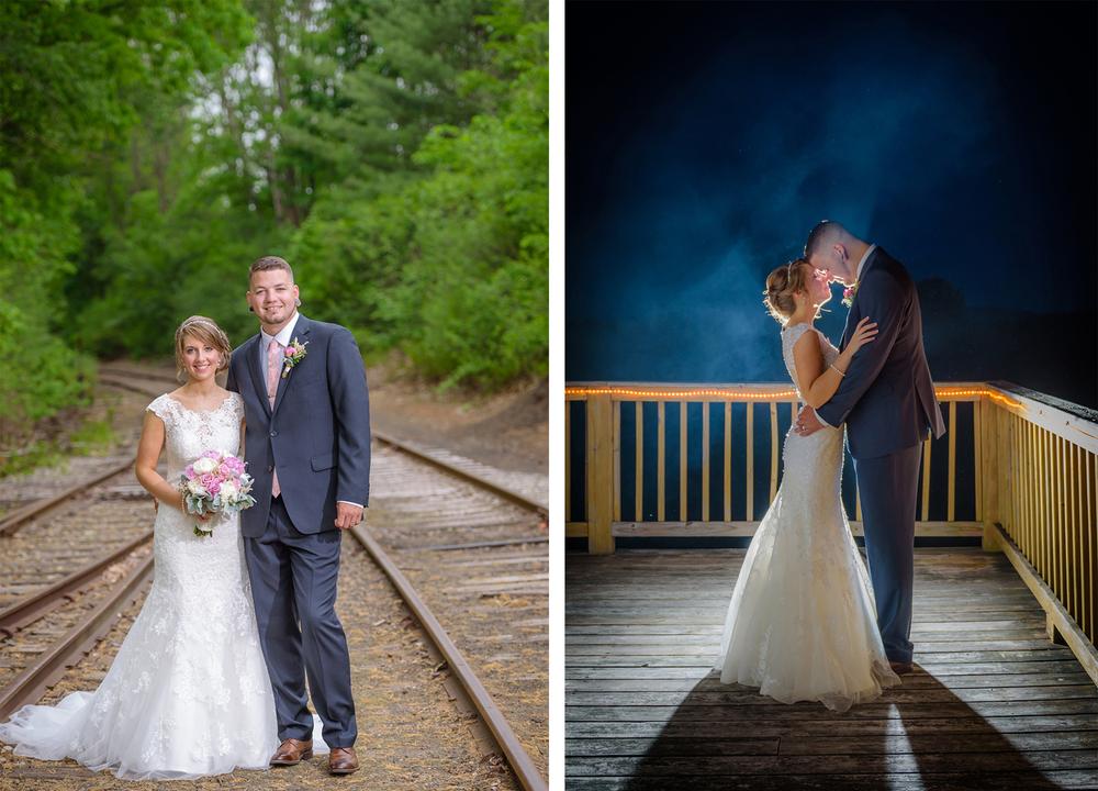 Bride and Groom Photography at Tilton Train Station, Tilton, NH, summer wedding