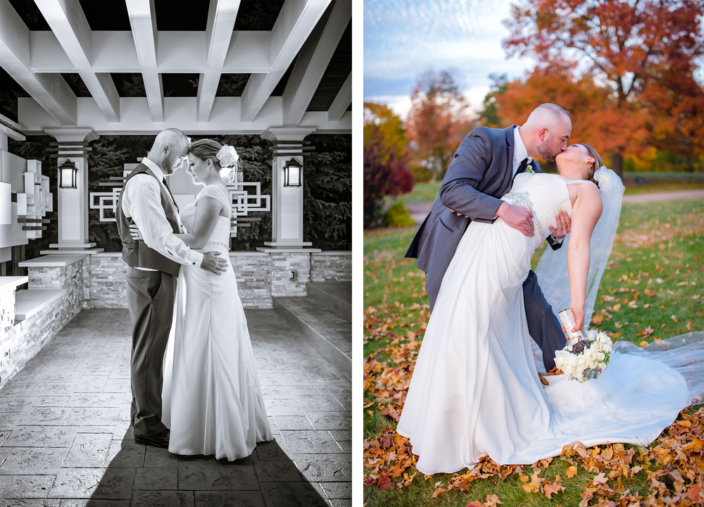 Bride and groom share a moment at fall wedding outside at Tiffany Ballroom