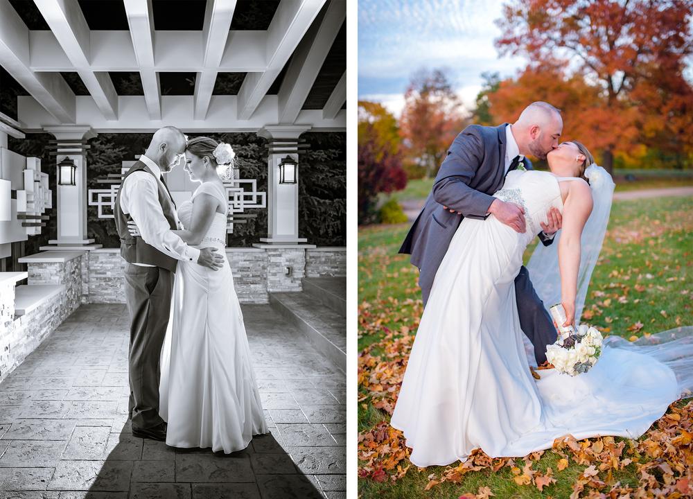 Bride and groom share a moment at fall wedding outside at Tiffany Ballroom