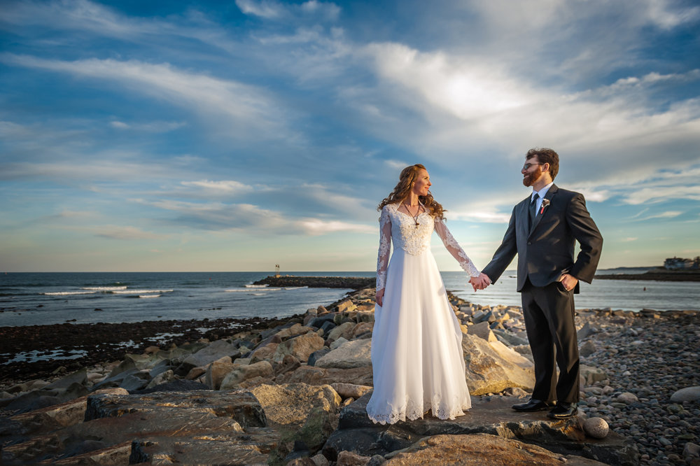 Bride and Groom at Scituate Beach Lighthouse, Scituate, MA