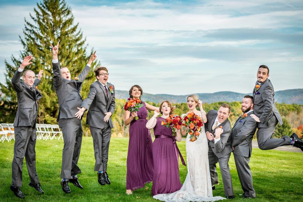 Fun wedding party photo, Cranwell Resort, Lenox, MA