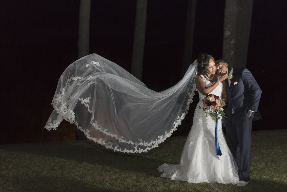 Night photography of bride and groom, fall wedding in North Conway, NH, White Mountain Resort