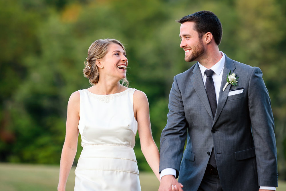 Newlyweds share a smile at Steele Hill Resort in Sanbornton, NH