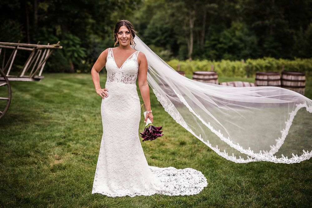 New England Wedding Bride Veil Flying Wind | Mike Sears Photography