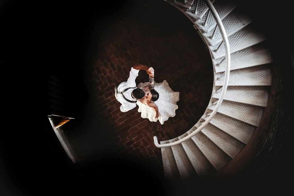 New Hampshire Staircase Bride Groom | Mike Sears Photography