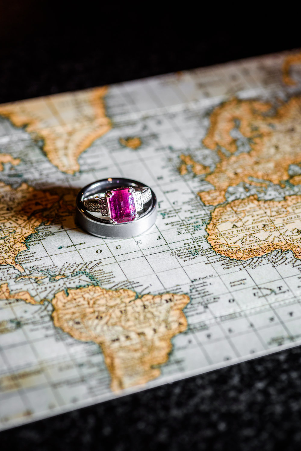 New England Map Wedding Rings | Mike Sears Photography