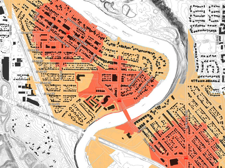 Neighbourhood walkability analysis tools developed to summarize catchment area demographics (O2 Planning + Design)