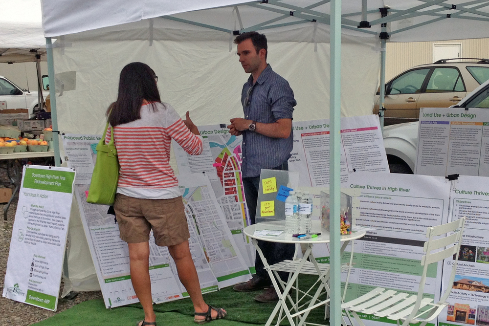 Pop-up public engagement at the High River's Farmer's Market for the  Downtown Area Redevelopment Plan  (O2 Planning + Design)