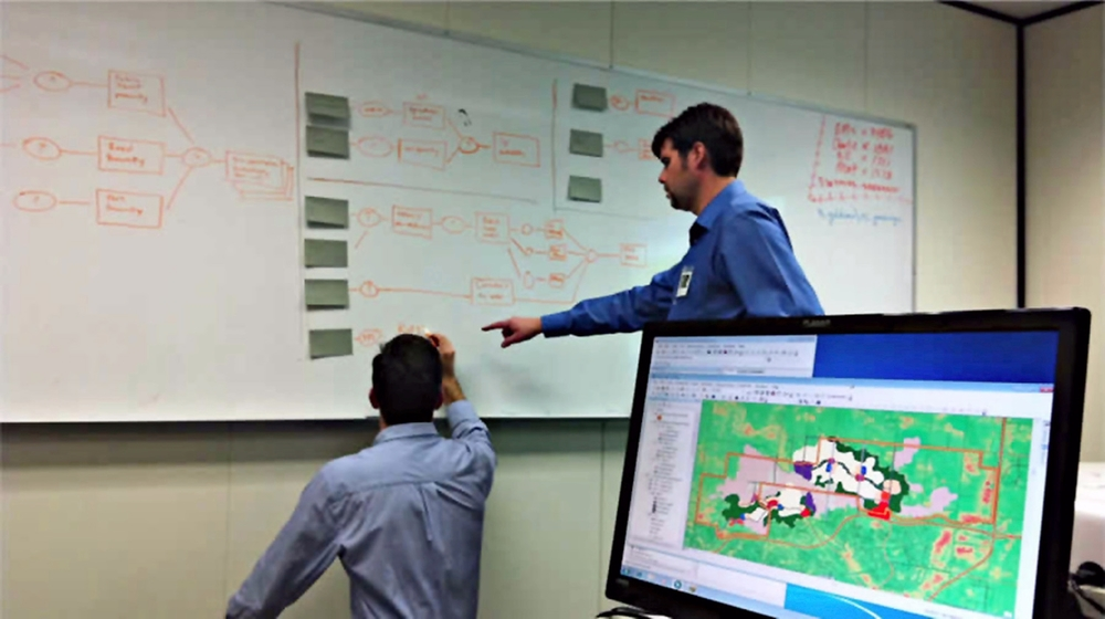Me, at left, working with Bill Souter, right, to translate O2 Planning + Design's ecological urbanism design workflow into one optimized by the capabilities of available ESRI software and aligned with the Steinitz GeoDesign framework. Redlands, CA, November 2011.
