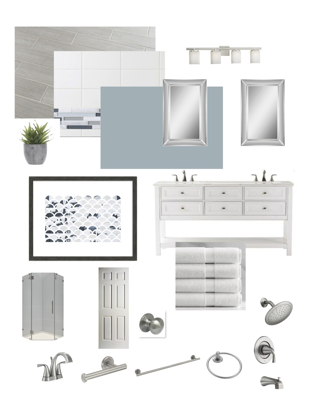 White, gray and blue master bathroom