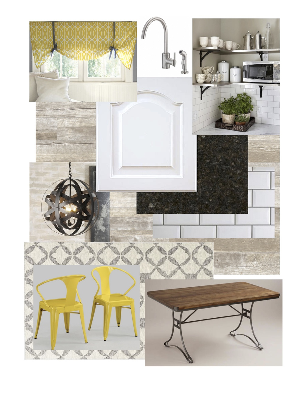 Rustic Modern Kitchen Mood board with Yellow