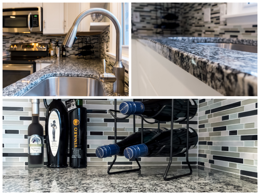 Backsplash with black and white granite