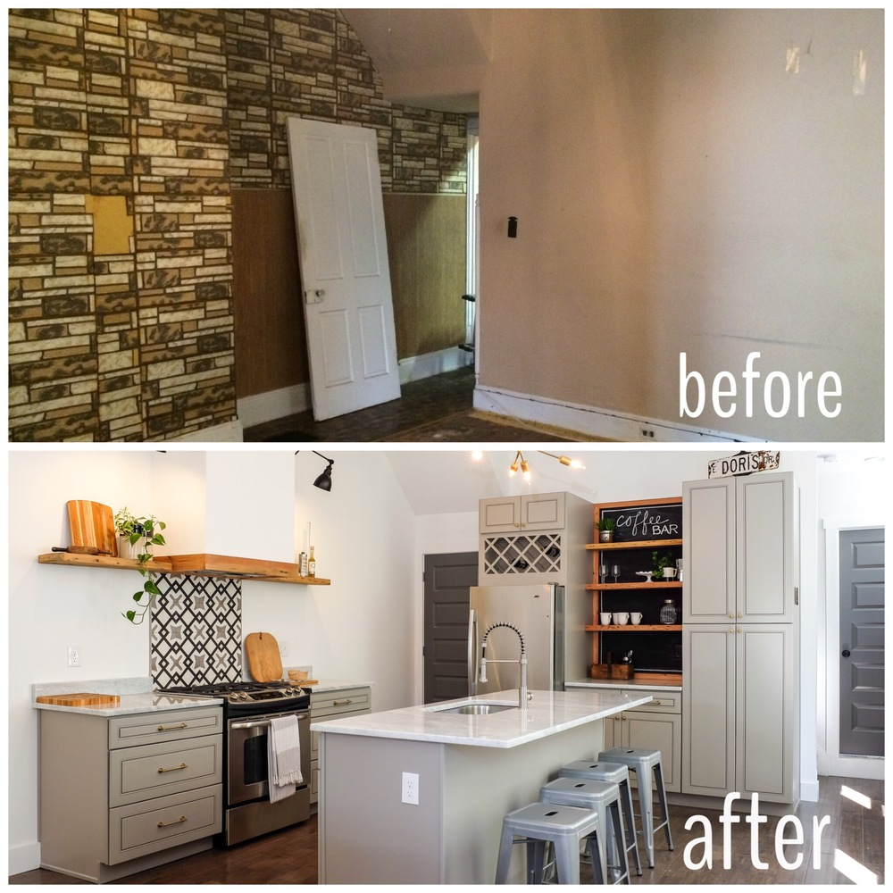 Before & After Industrial Modern Kitchen with Coffee Bar, Cement Tile, Marble