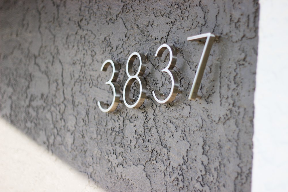 Modern House numbers with Sherwin Williams Urbane Bronze exterior paint