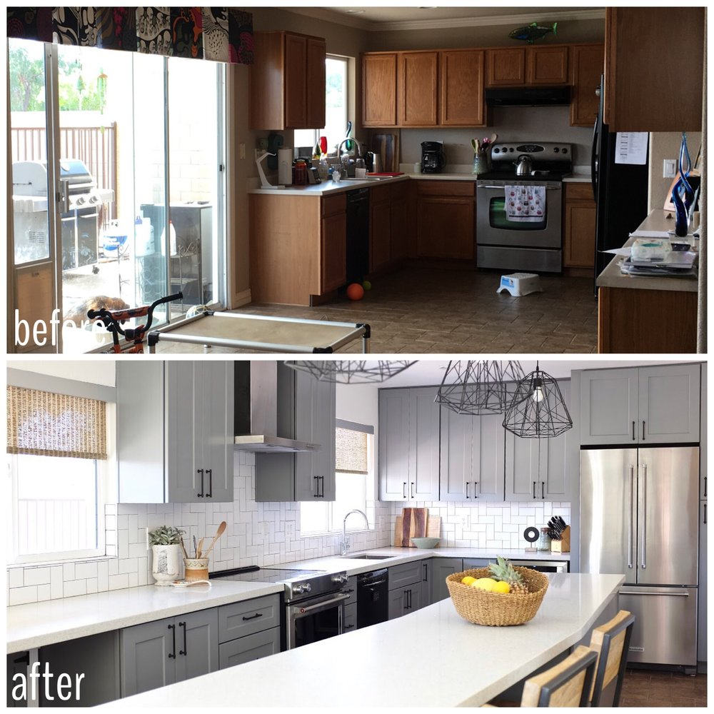 Before and After: Oak to Gray Cabinet kitchen