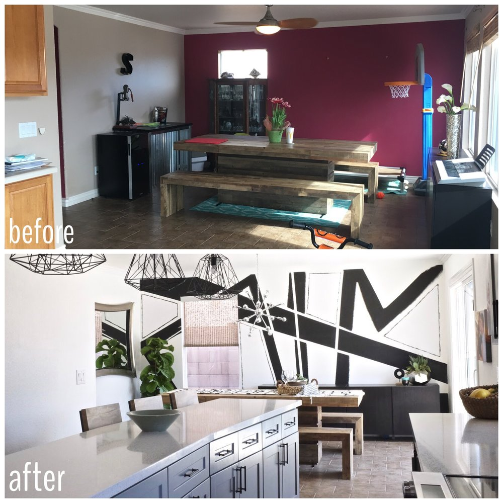 Before and After: Dining room with abstract black and white accent wall