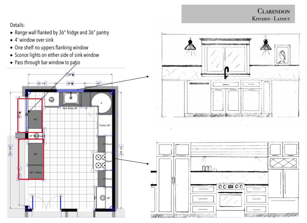 Clarendon New Kitchen Floor Plan and Elevations