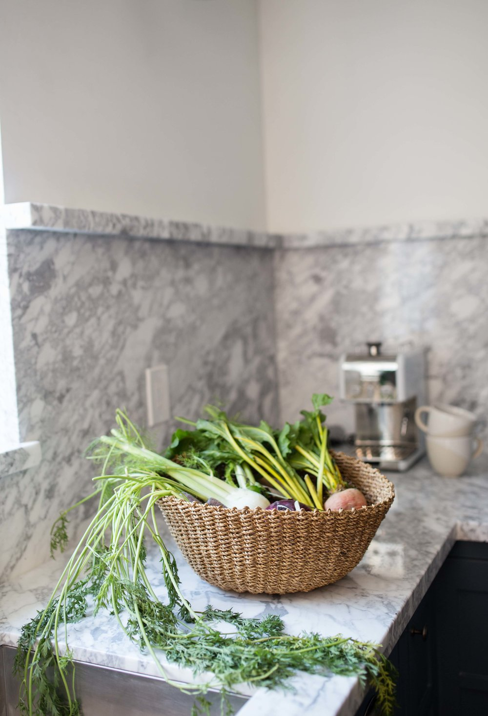 Clarendon Kitchen Carrara Arrabescato Marble with Farm Styling