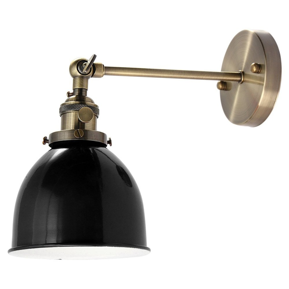 Jeteven Retro Vintage Industrial Steel Swing Arm Wall Sconce Light Lamp Shade for E27 Bulbs Black