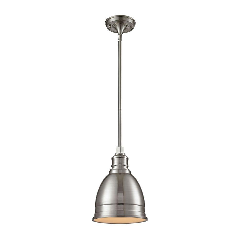 1-Light Die-Cast Aluminum Hardware Brushed Nickel Restoration Pendant with Open Bottom