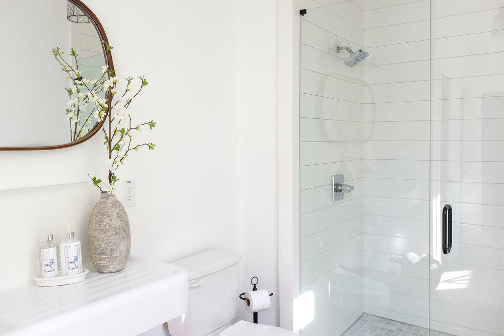 Shop The Room: Farmhouse modern bath with shiplap shower
