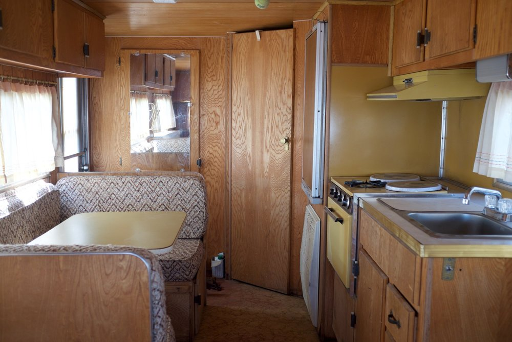 Vintage 1971 Red Dale Camper before renovations