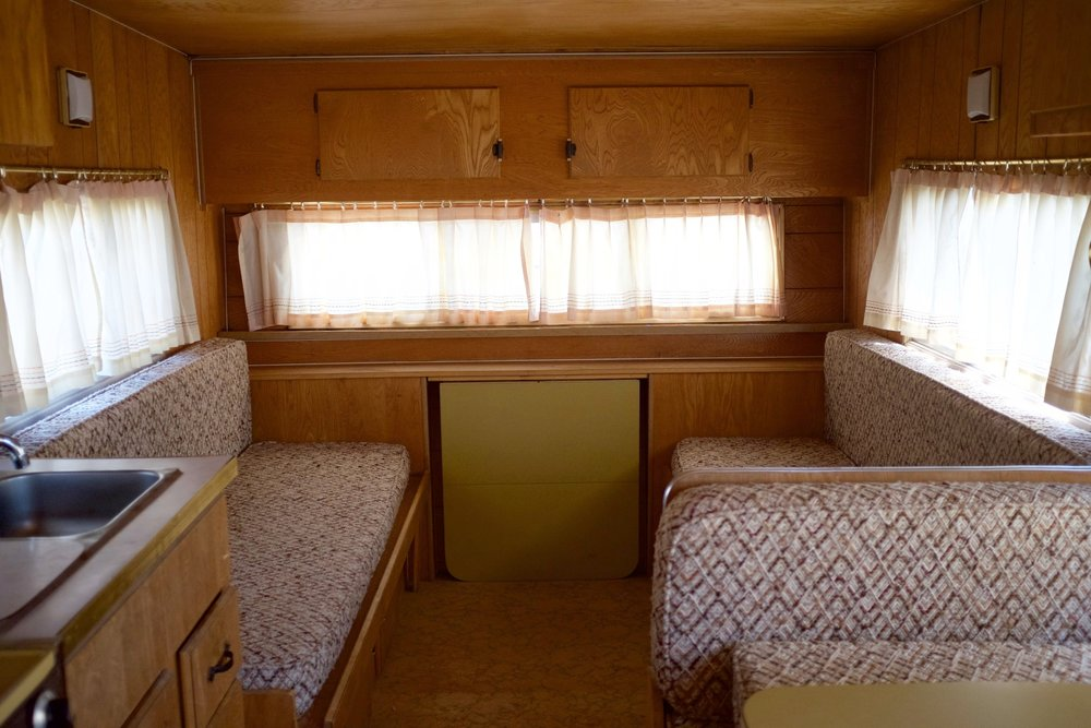 Camper vintage retro bench and bed
