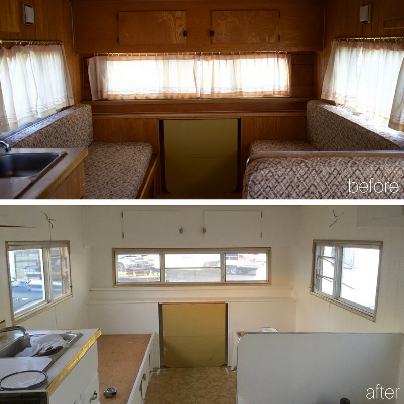 Before and After Camper Painted white