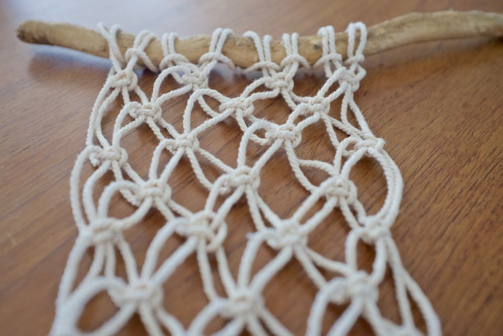 Macrame square knot practice