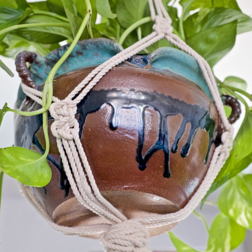 Macrame hanging planter and vintage clay pot