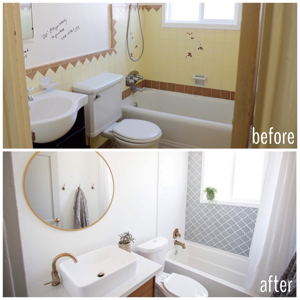 Spanish style Phoenix home bathroom before and after
