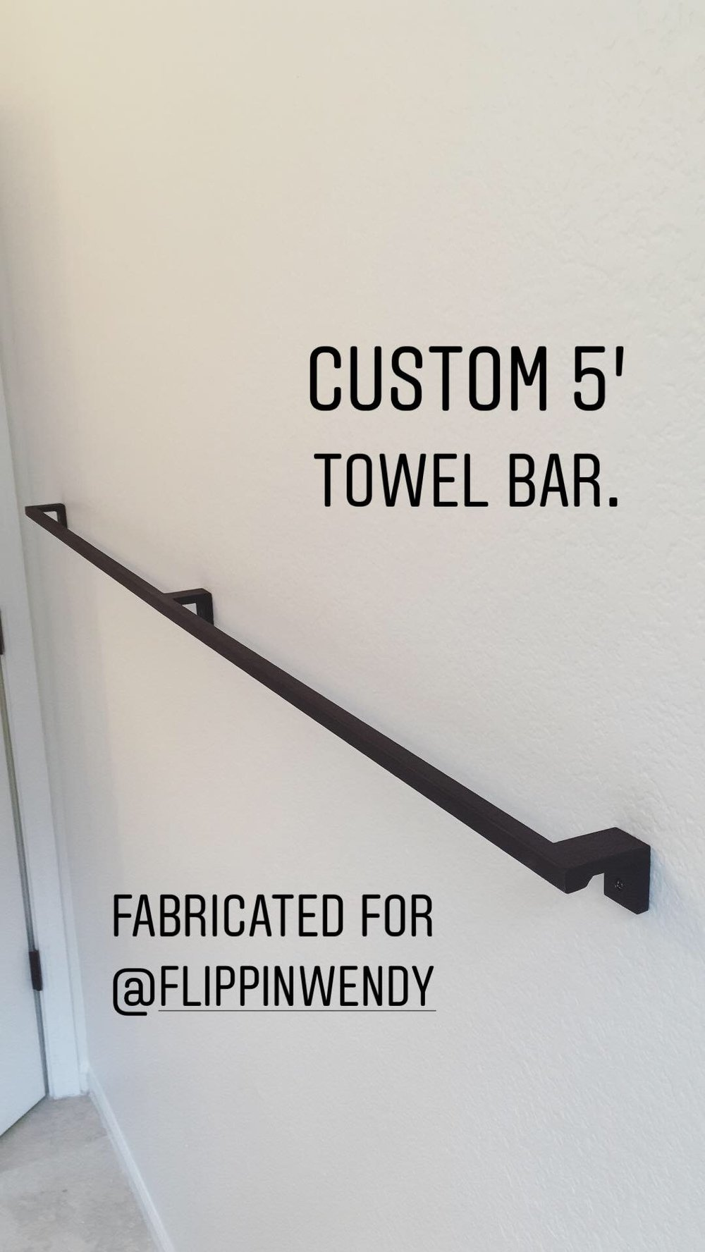 Long ass towel bar black 5'