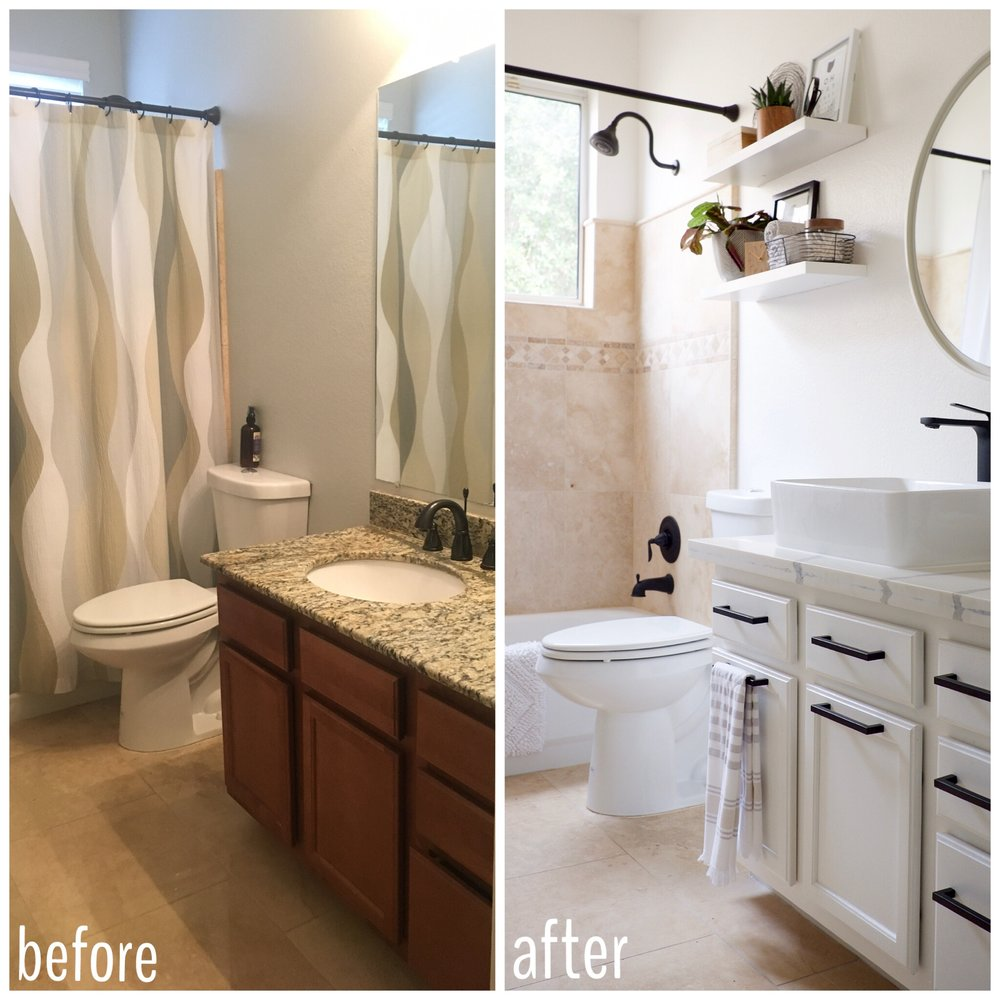 Before and After Travertine Bathroom Makeover FlippinWendy