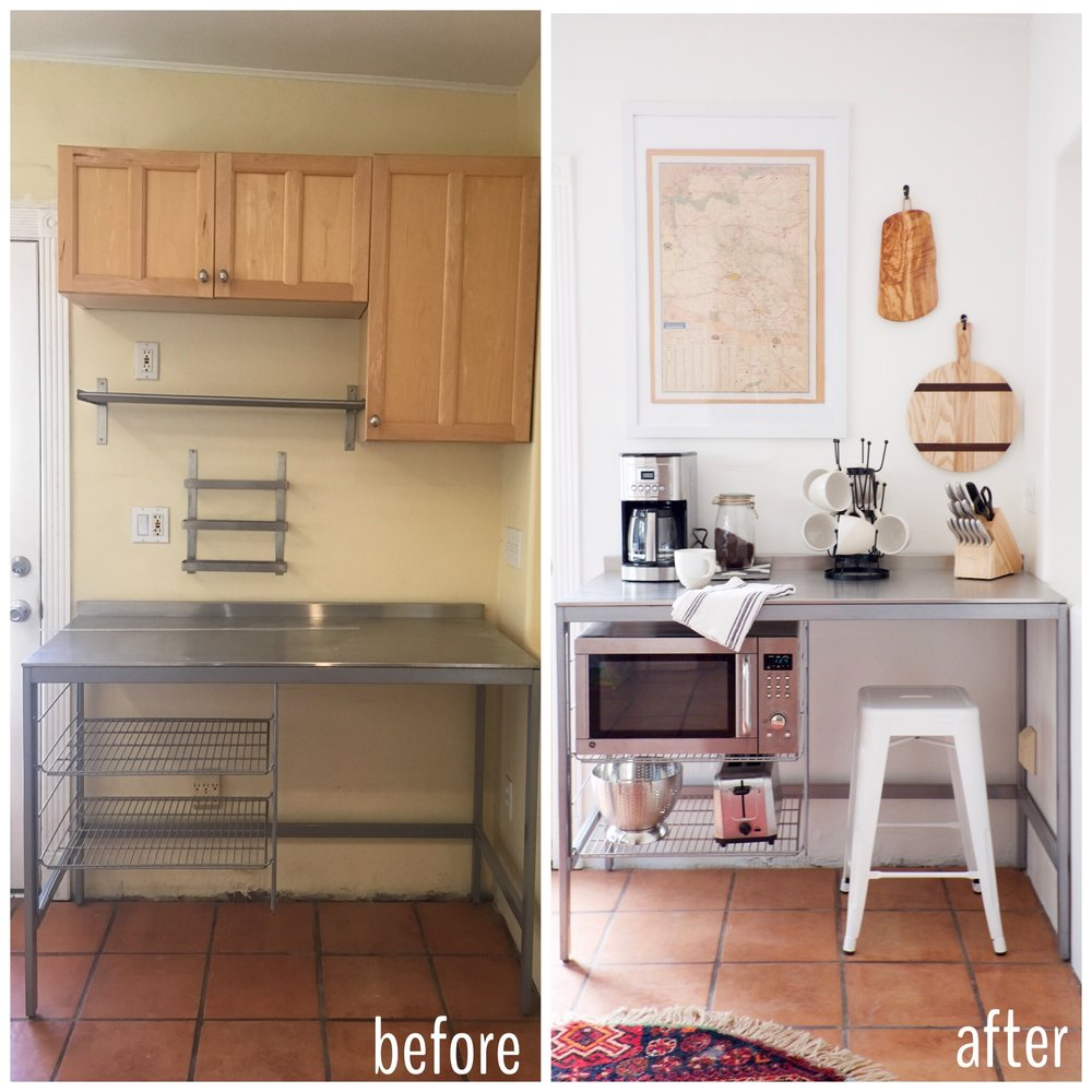 Before And After Stainless Ikea Kitchen Coffee Bar at the Shack