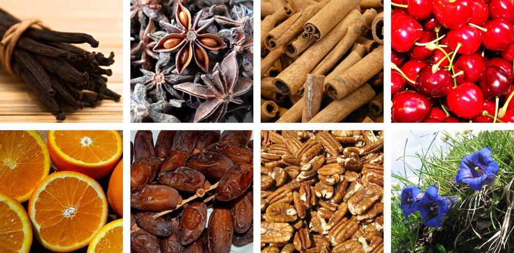 Vanilla / Anise / Cinnamon /Cherry /Orange / Date / Walnut / Gentian