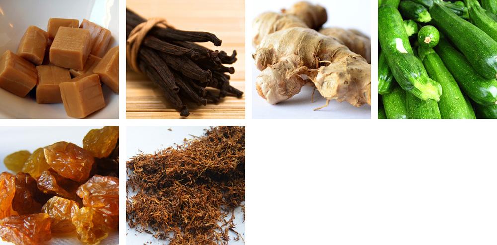 toffee / vanilla / ginger / zucchini / raisin / tobacco